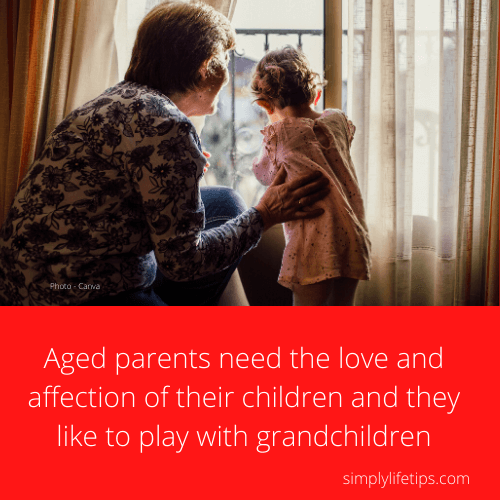 Aged parents love grandchildren